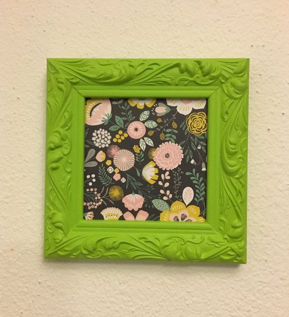 5x5 Green Square Upcycled Handpainted Picture Frame by TRexFrames