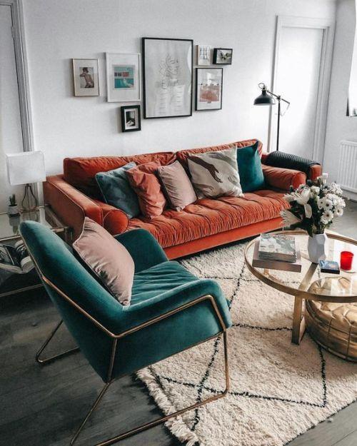 Rust Colored Velvet Sofa, Modern Rust Furniture