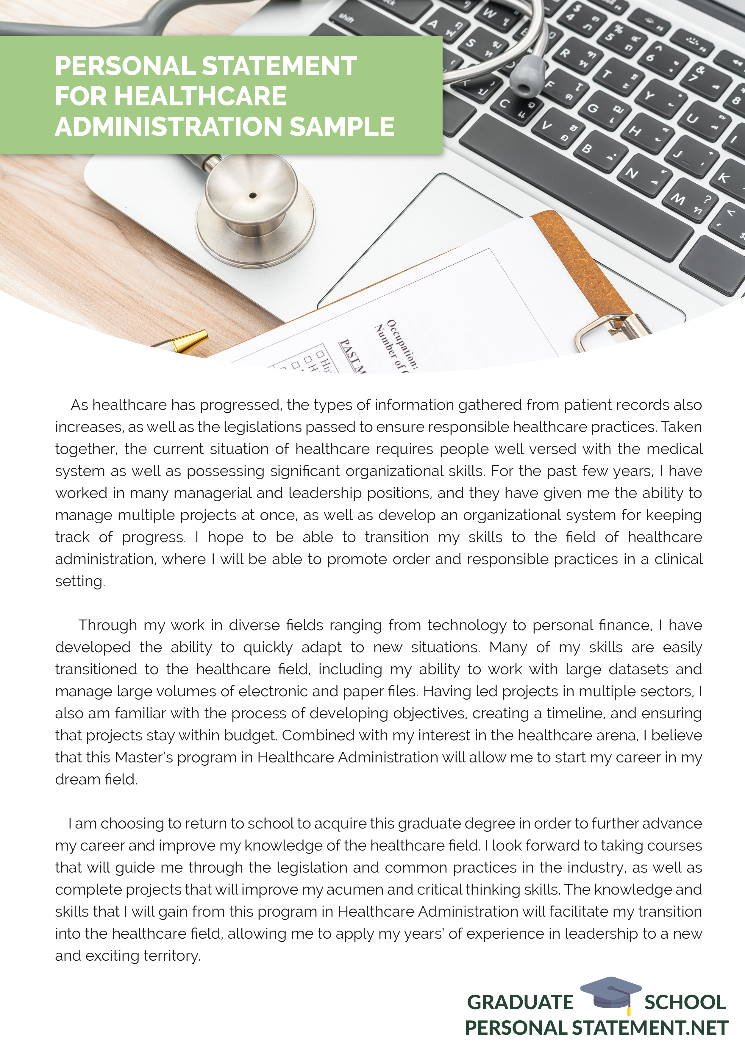 Original Personal Statement For Healthcare Administration Sample That Will Inspire Your Writing Nursing Program Medical School Stuff Administrator Example