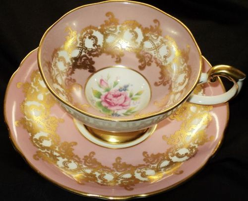 AYNSLEY MAUVE STATUESQUE GOLD PINK ROSE TEA CUP AND SAUCER   295.00