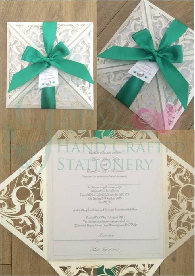 Parakeet green laser cut wedding invitation www ...