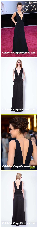 a8d956ccc172fe Samantha Barks Black Deep V-neck Open back Celebrity Dress 2013 Oscars Red  Carpet Dresses
