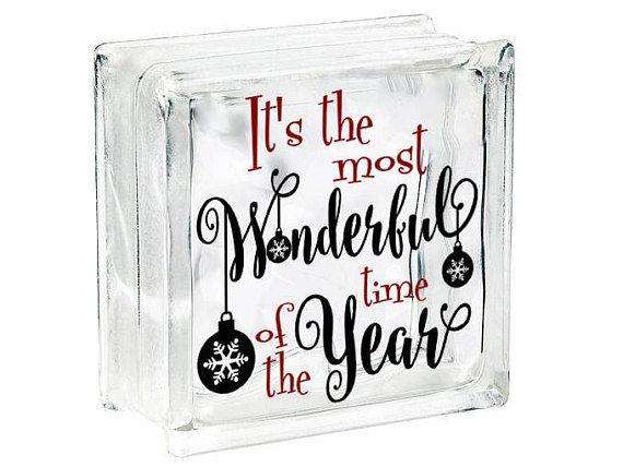 Christmas Vinyl Decals For Glass Blocks.Diy Christmas Decoration Glass Block Decal Christmas Vinyl