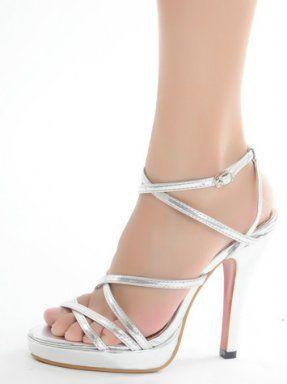 Silver Straps Platform Sandals Heels Wedding Bridal Shoes