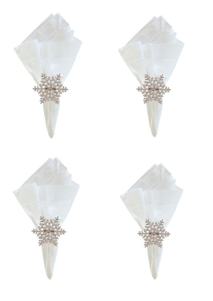 C f snowflake winter metal christmas napkin rings set of