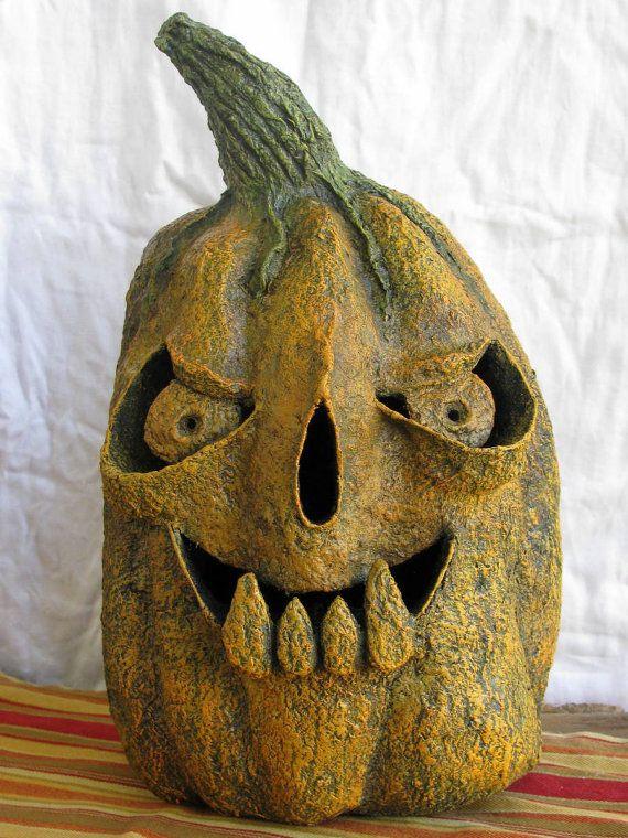 Jack O Lantern Pumpkin With 4 Fangs Paper Mache Papier Mache Halloween Or Fall Decor Light Accessible Jack O Lantern Halloween Displays Fall Halloween