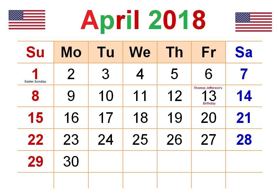 USA April 2018 Holidays Colorful Calendar
