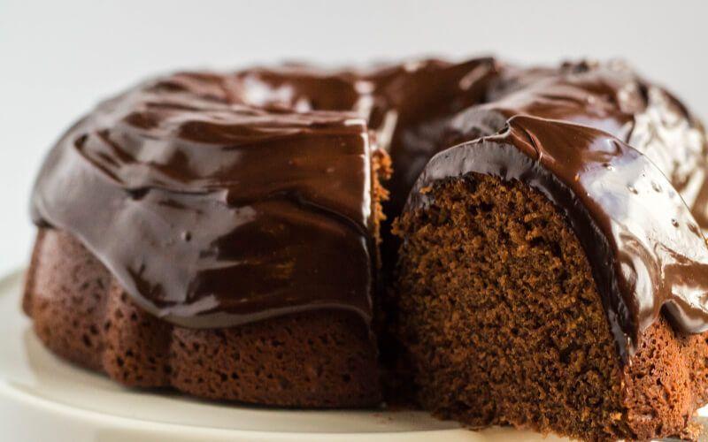 chocolate-sour cream pound cake with ganache