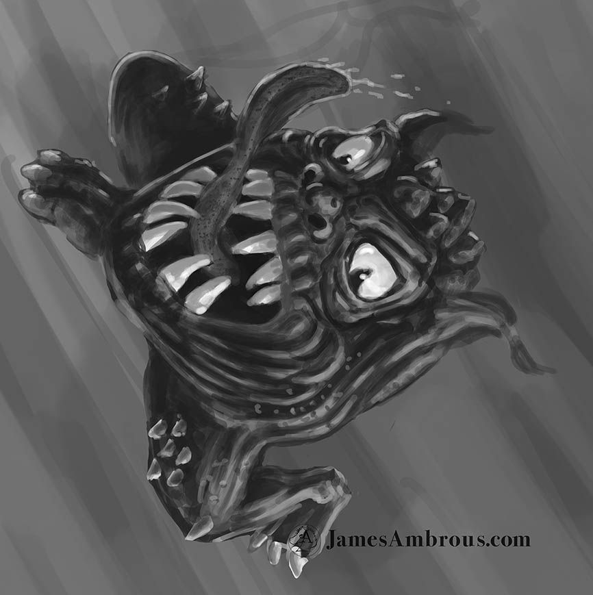 SSQQQUUIIIGGGG!!! Yea, it's basically a mouth with legs. Part of a pic I'm playing with right now for fun. Had to much fun drawing this one. Will end up with a goblin rider and a Skaven shooting at...