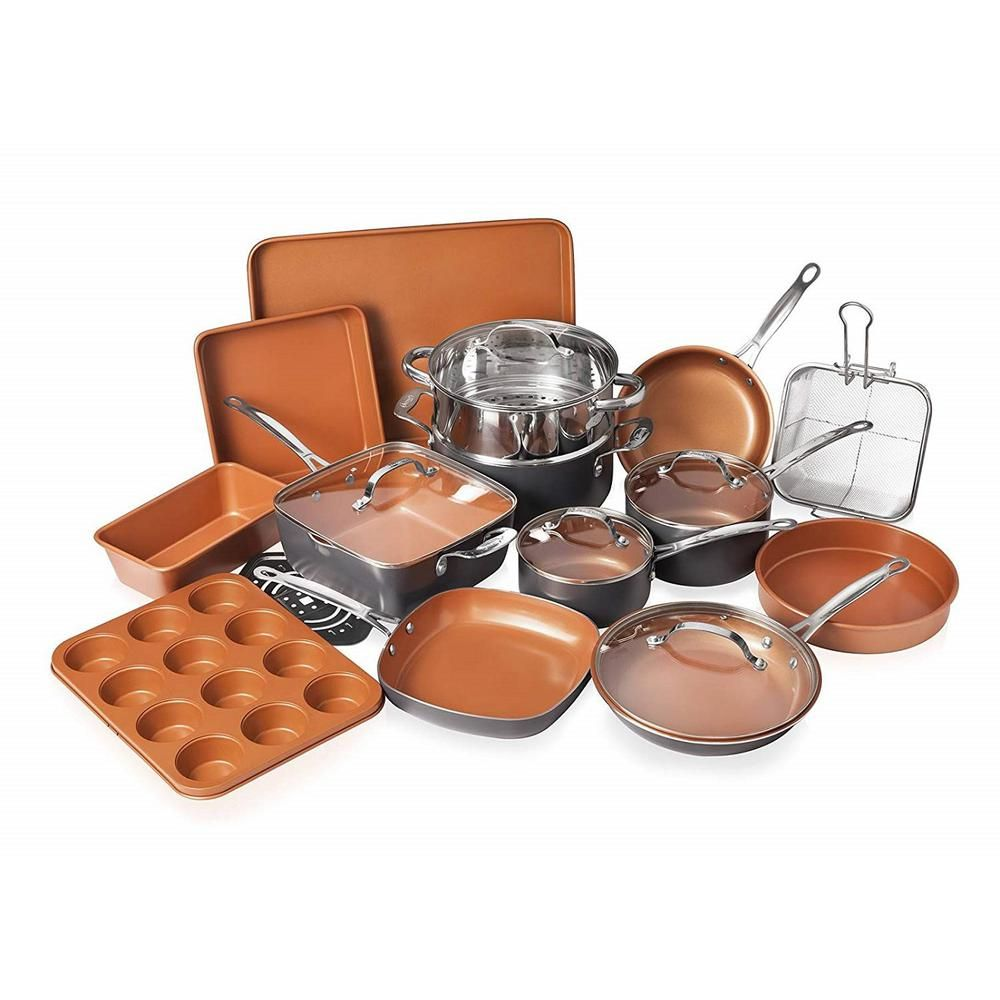 Gotham Steel 20 Piece Non Stick Ti Ceramic Cookware Set With Lids