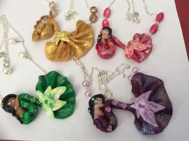 Necklace mermaid handmade polymer clay by CraftyFelix on Etsy