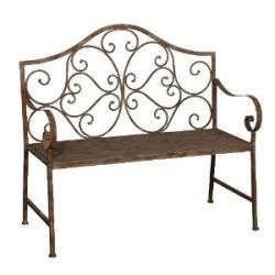 pretty ornate country style distressed garden bench made in metal for interior exterior