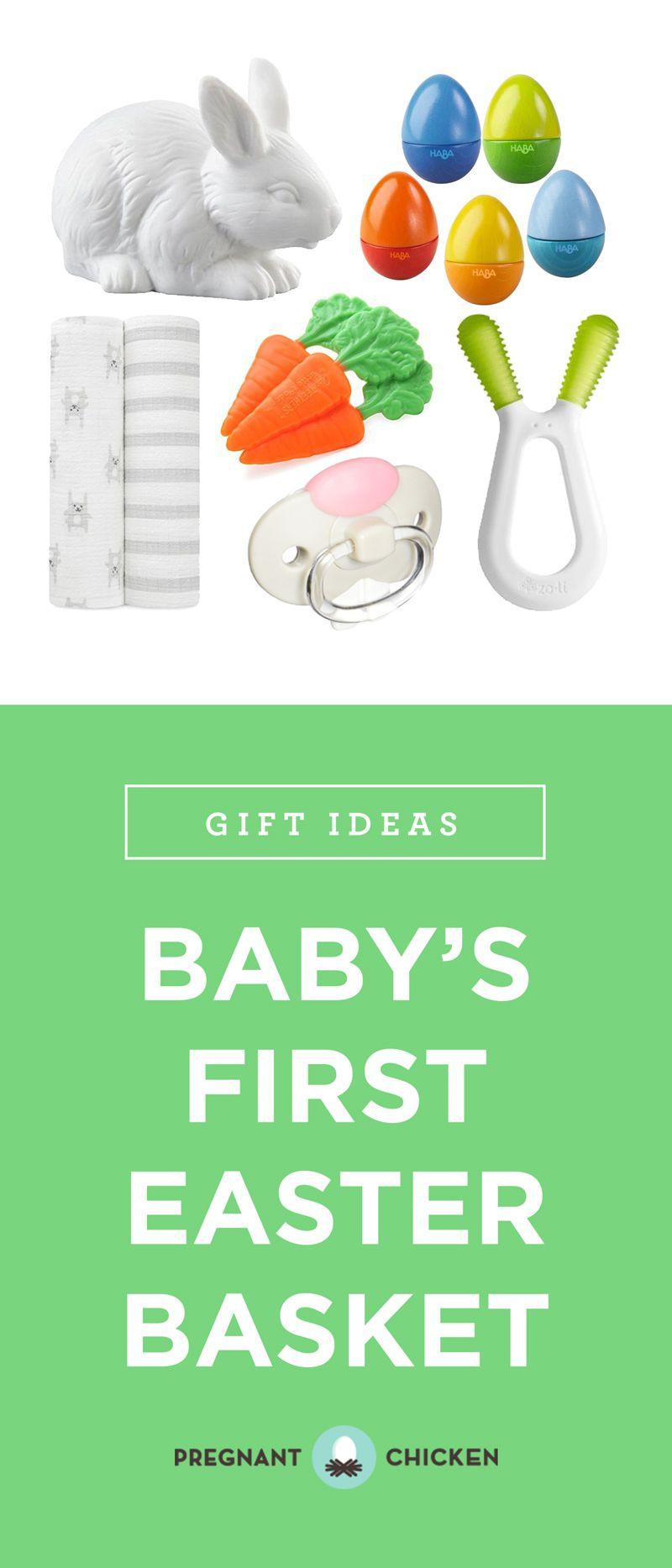 30 Best Easter Basket Ideas For A Baby Pregnant Chicken Baby S First Easter Basket Baby Easter Basket Girls Easter Basket