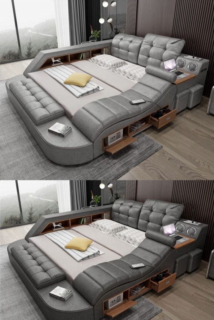 The Ultimate Bed With Integrated Massage Chair Speaker And Desk In 2021 Bedroom Bed Design Bed Furniture Design Sofa Bed Design
