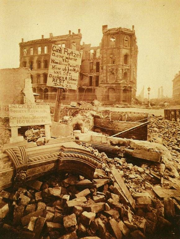 Photo Chicago Chicago Fire 1871 Some Ruins Sepia Later