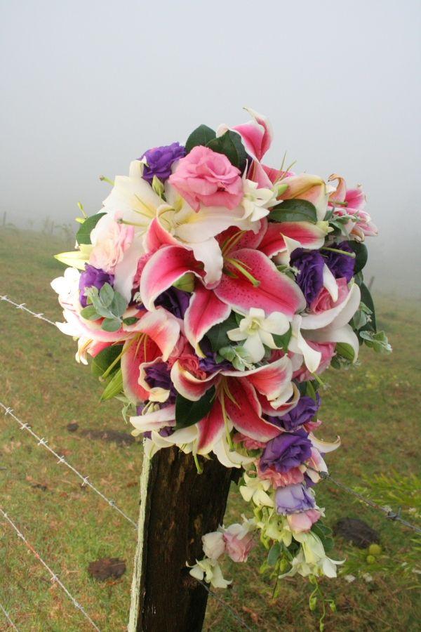 Melissa M - Cascading Bouquet - Hot Pink Stargazer Oriental Lillies, Roses, Lisianthus, Orchids, Cascading