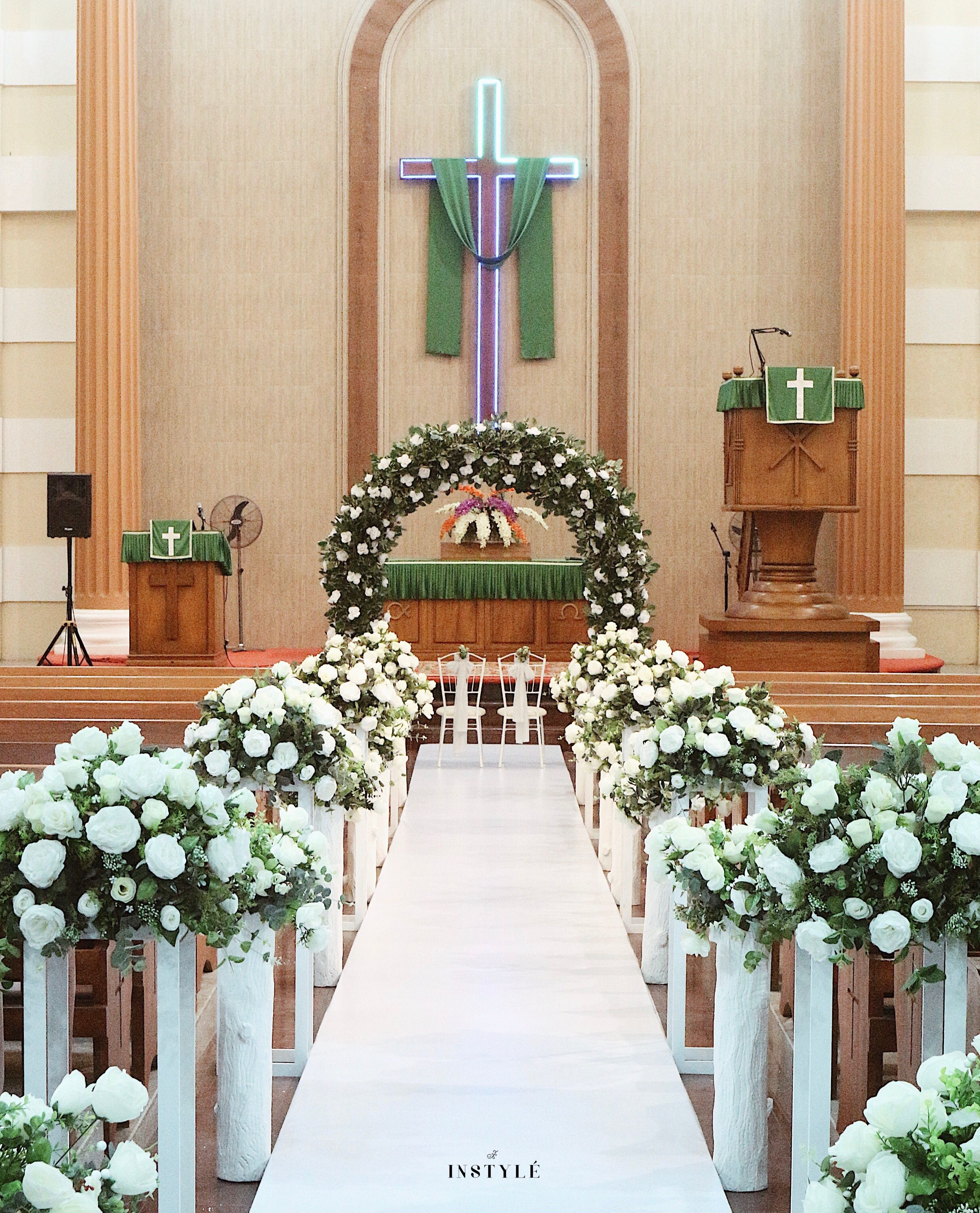 Church Wedding Decoration With White And Greenery Theme