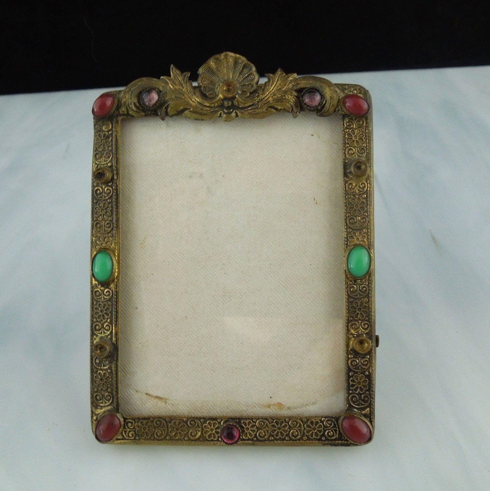 Ornate Vintage Czech Glass Faux Jeweled Mini Miniature Picture Frame ...
