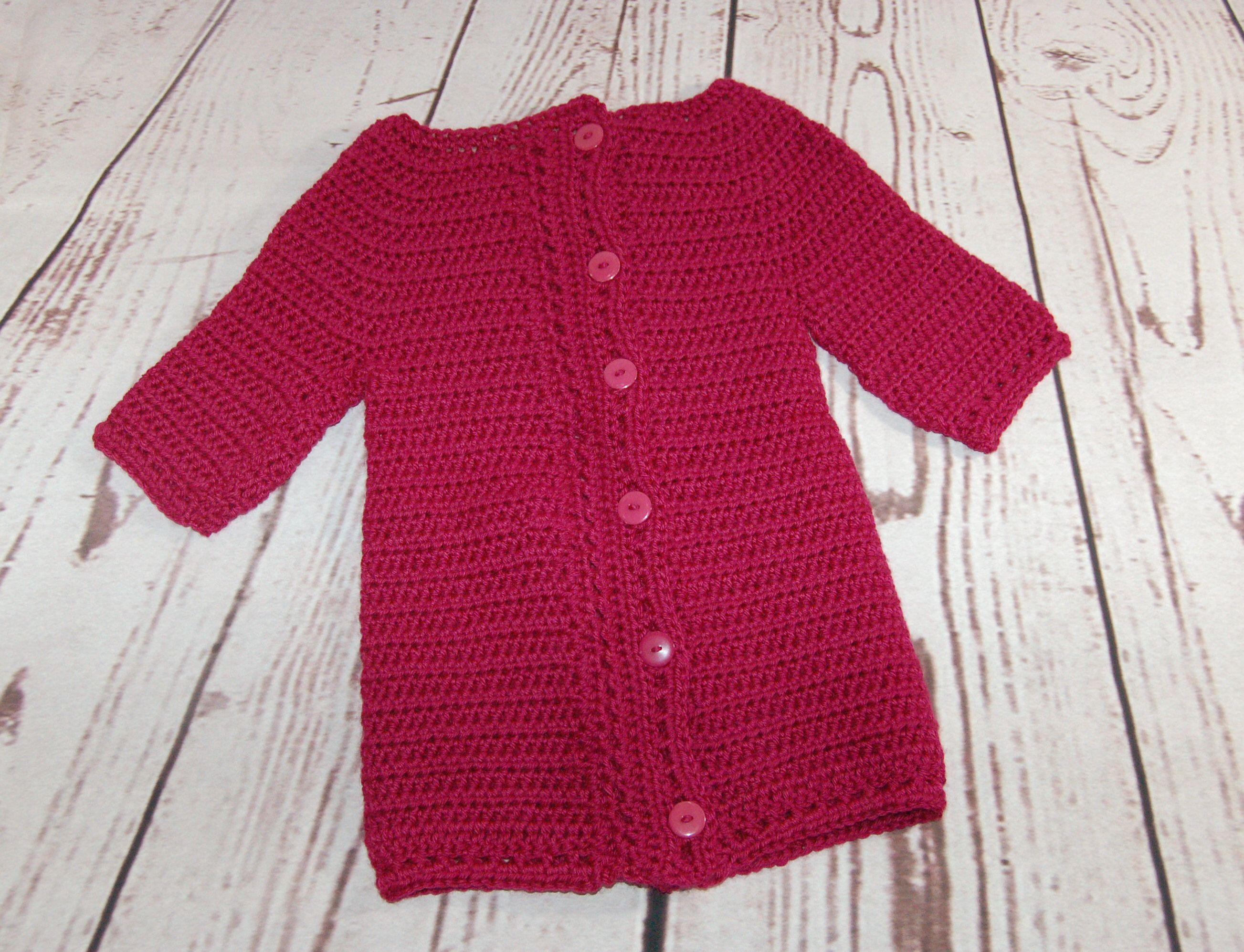 Red Sweater - Childs Sweater - Crochet Sweater - Crochet Cardigan ...
