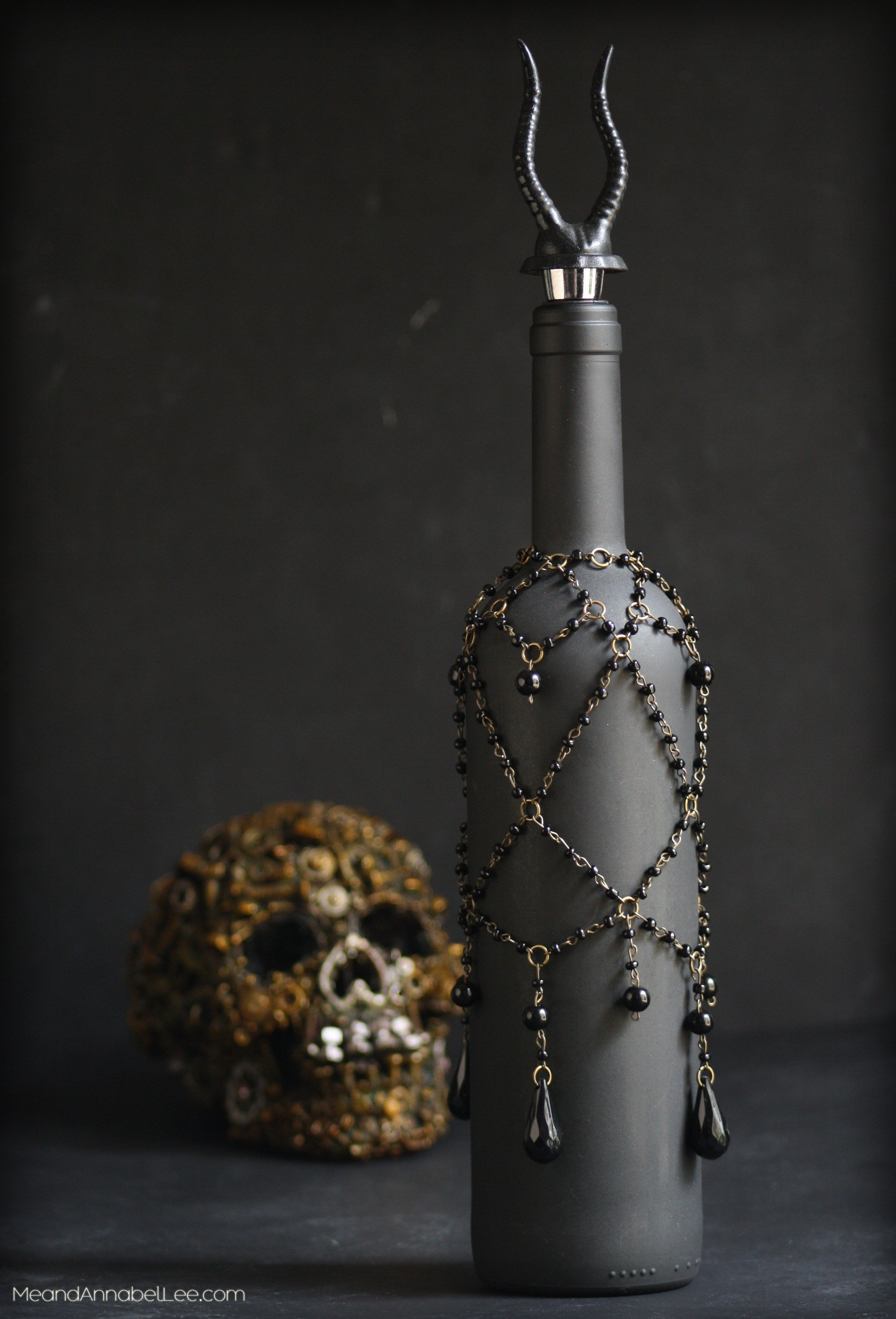 Gothic Glam Black & Gold Beaded Wine Bottle Cover | Pinterest | Wine ...