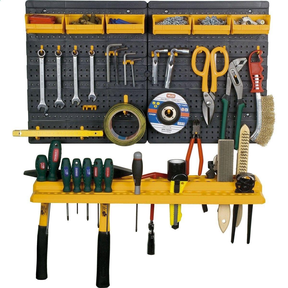 Garage Tool Rack Wall Kit Mini Storage Tools Organizer Home 19 Hooks 6 Bins