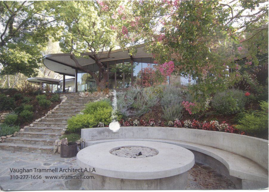 Poured In Place Fire Pit And Curved Concrete Bench Bouquet Canyon Stair Case And Pool Deck Fire Pit Materials Fire Pit Patio Concrete Fire Pits