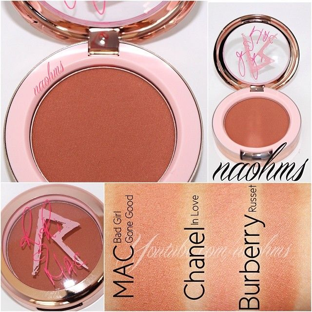 """#swatches of the @MACcosmetics """"Bad Girl Gone Good"""" blush from the #RiRiHeartsMAC for fall, along with some comparisons.  Chanel In Love (which is lighter, has a gold sheen and has more peach than copper) Burberry Russet (which is darker and a touch more copper, but has the same finish). It's described as a warm copper with a satin finish. Good pigmentation, blendable and lasted well on the cheeks (I noticed patchiness after 9 hours of wear)"""