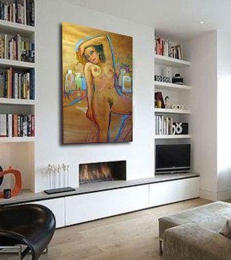 cuadro figurativo de desnudo femenino pintado al oleo sobre lienzo pintura moderna decoracin saln o