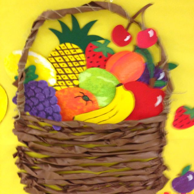 Classroom Theme Basket Ideas ~ Fruit basket made by twisting paper looks awesome