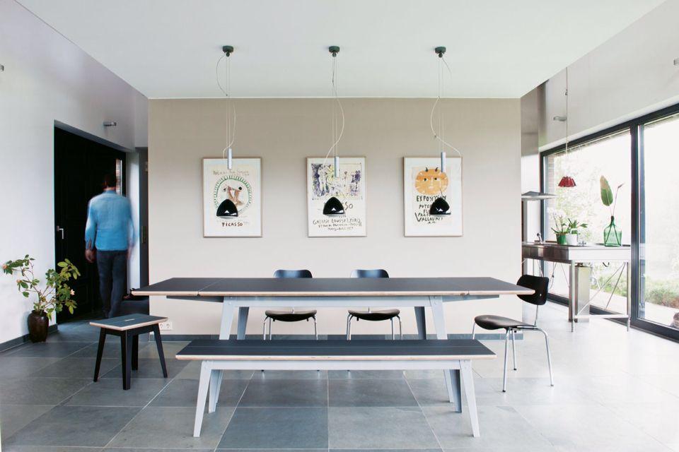 6Grad Esstisch mit Ansteckplatten und Bank