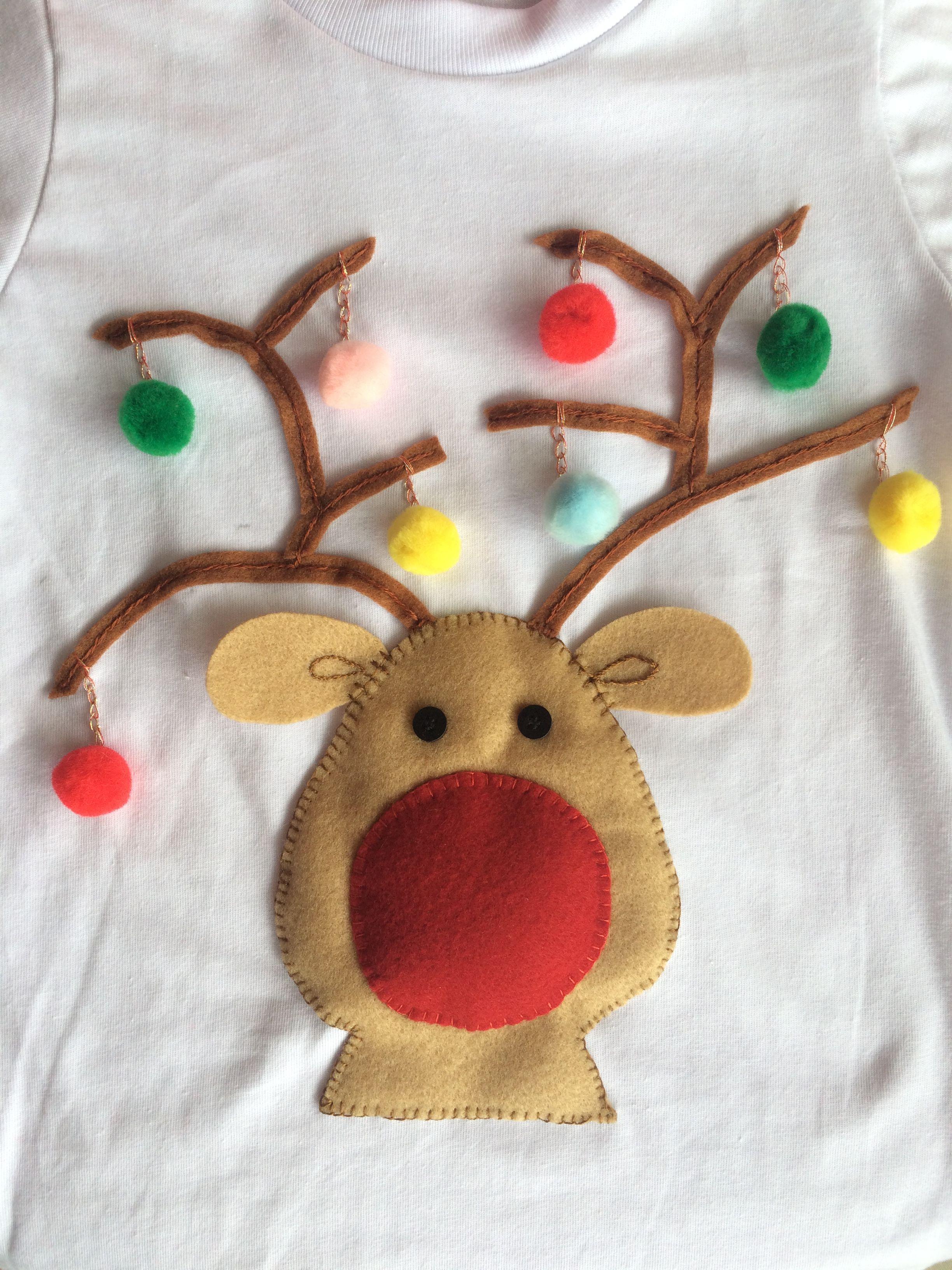 Hecha Con Fieltro Y Pompones Bordado A Mano Nariz Con Sutil Relleno Navidad Rudolph Camisas De Navidad Suéteres De Navidad Costura De Navidad