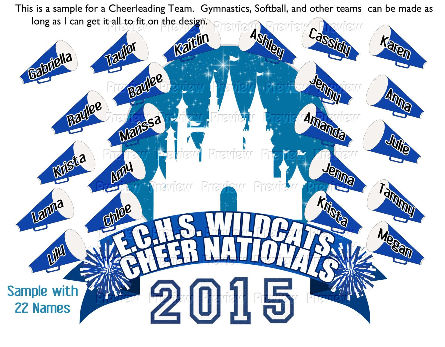 Printable Personalized Custom 2015 USA Cheer Nationals T