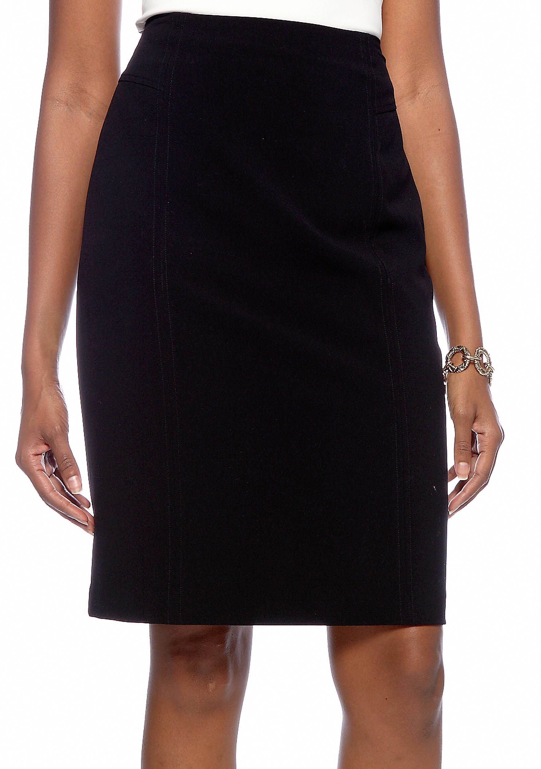 a0d607ec1d This classically designed knee-length skirt features a straight silhouette,  front seams, back darts, and a 7-in. back slit. It is easy to wear and will  keep ...
