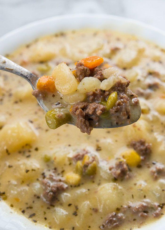 Creamy Potato & Hamburger Soup | The Kitchen Magpi