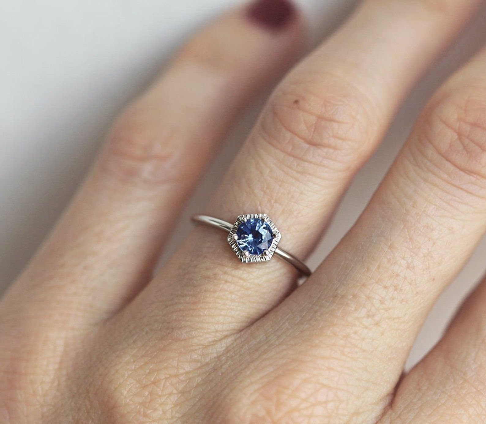Blue Sapphire Ring Solid Gold Band With Hexagon Six Prong Etsy Blue Sapphire Rings Solid Gold Band Sapphire Ring