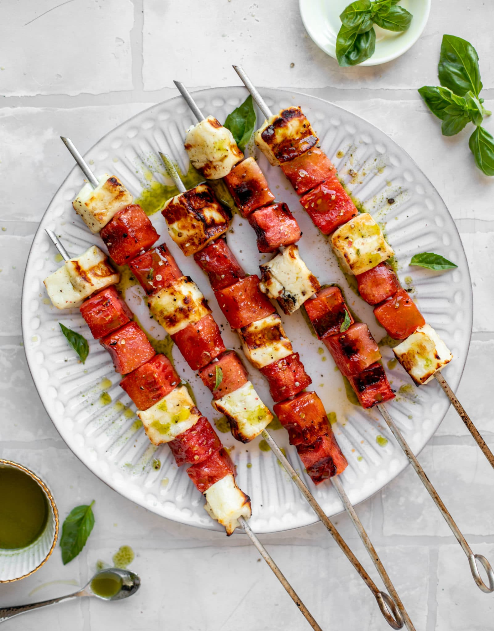 Watermelon Halloumi Skewers Grilled Watermelon Halloumi Skewers Recipe Watermelon And Halloumi Grilled Watermelon Watermelon And Feta