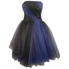 oscar de la renta black and blue tulle bustier cocktail