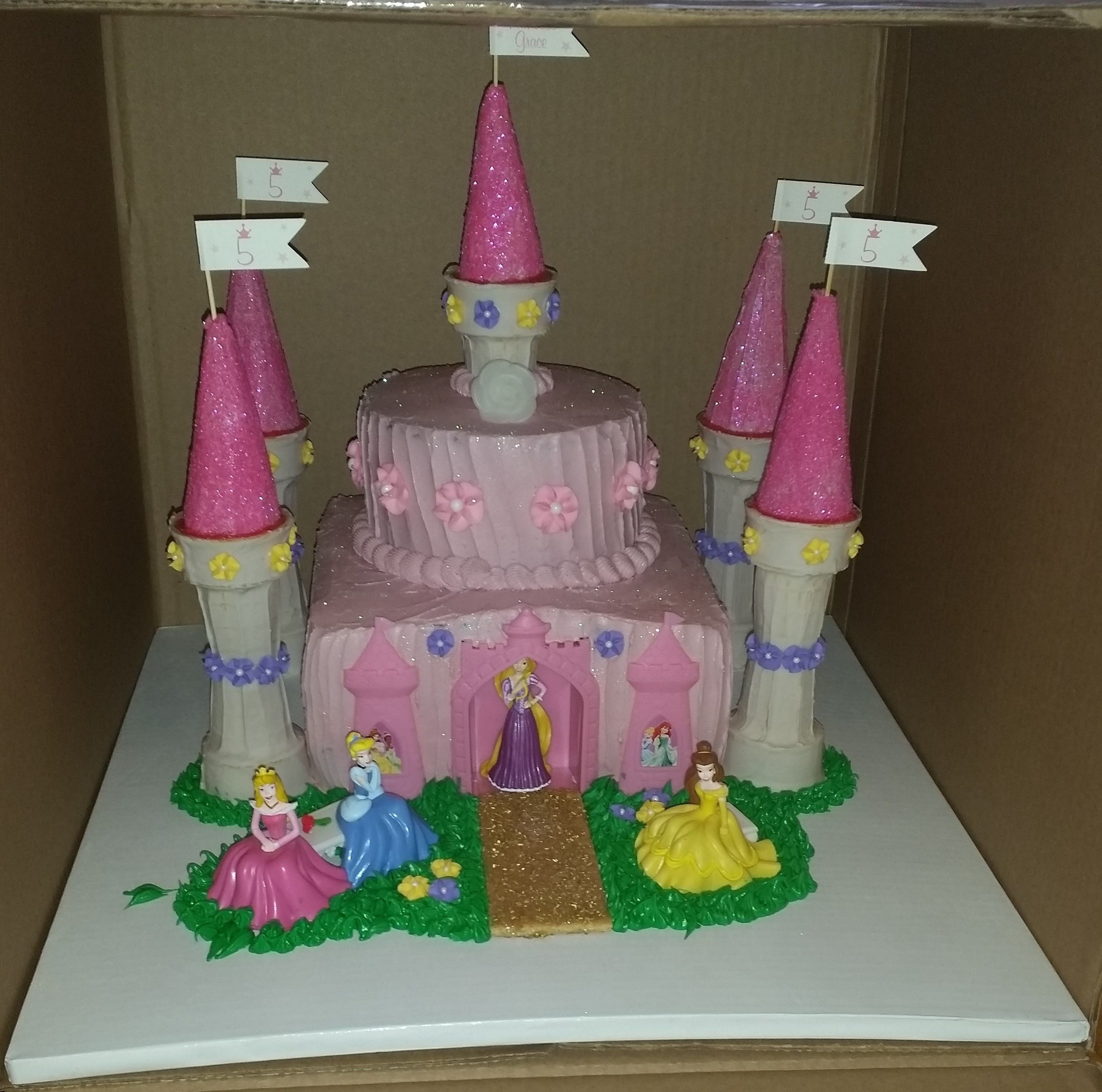 Magical 5th Birthday Princess Castle Cake
