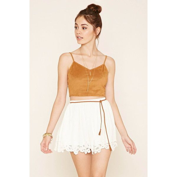 Forever 21 Women's  Floral-Embroidered Mini Skirt ($23) ❤ liked on Polyvore featuring skirts, mini skirts, floral printed skirt, short white skirt, short mini skirts, white skirt and short skirts