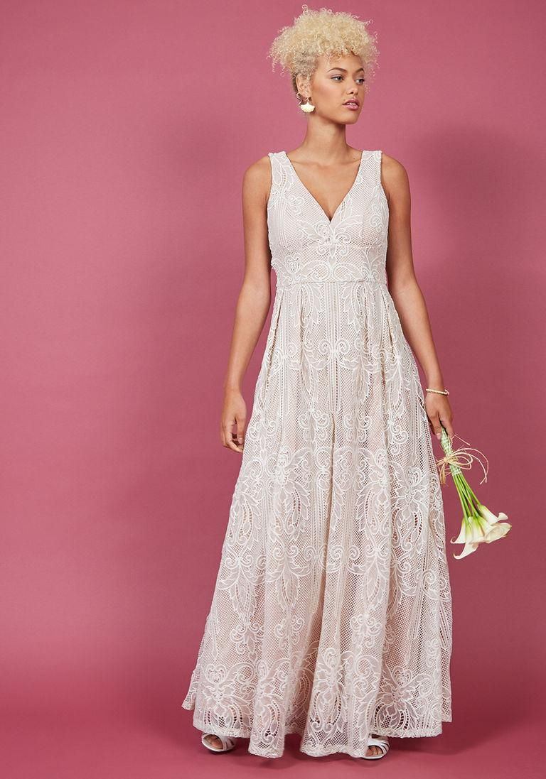Plus size maxi dresses for summer wedding  ModCloth  ModCloth Faith in Flawlessness Maxi Dress in Ivory in XXS