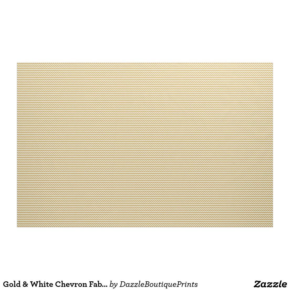 Gold & White Chevron Fabric | Chevron fabric, Fabrics and Patterns