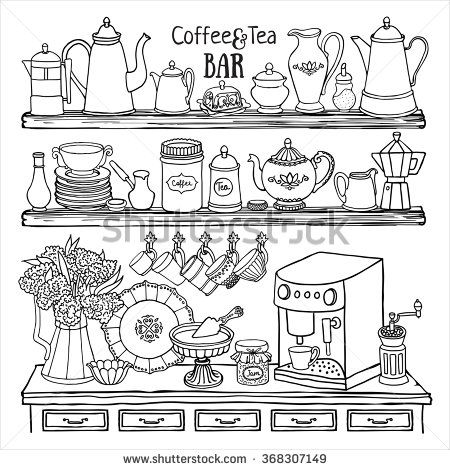 Hand drawn vector set of coffee and tea bar. Black and