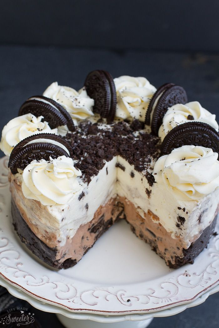 Cookies And Cream Oreo Ice Cream Cake Life Made Sweeter Oreo Ice Cream Cake Ice Cream Cake Recipe Desserts