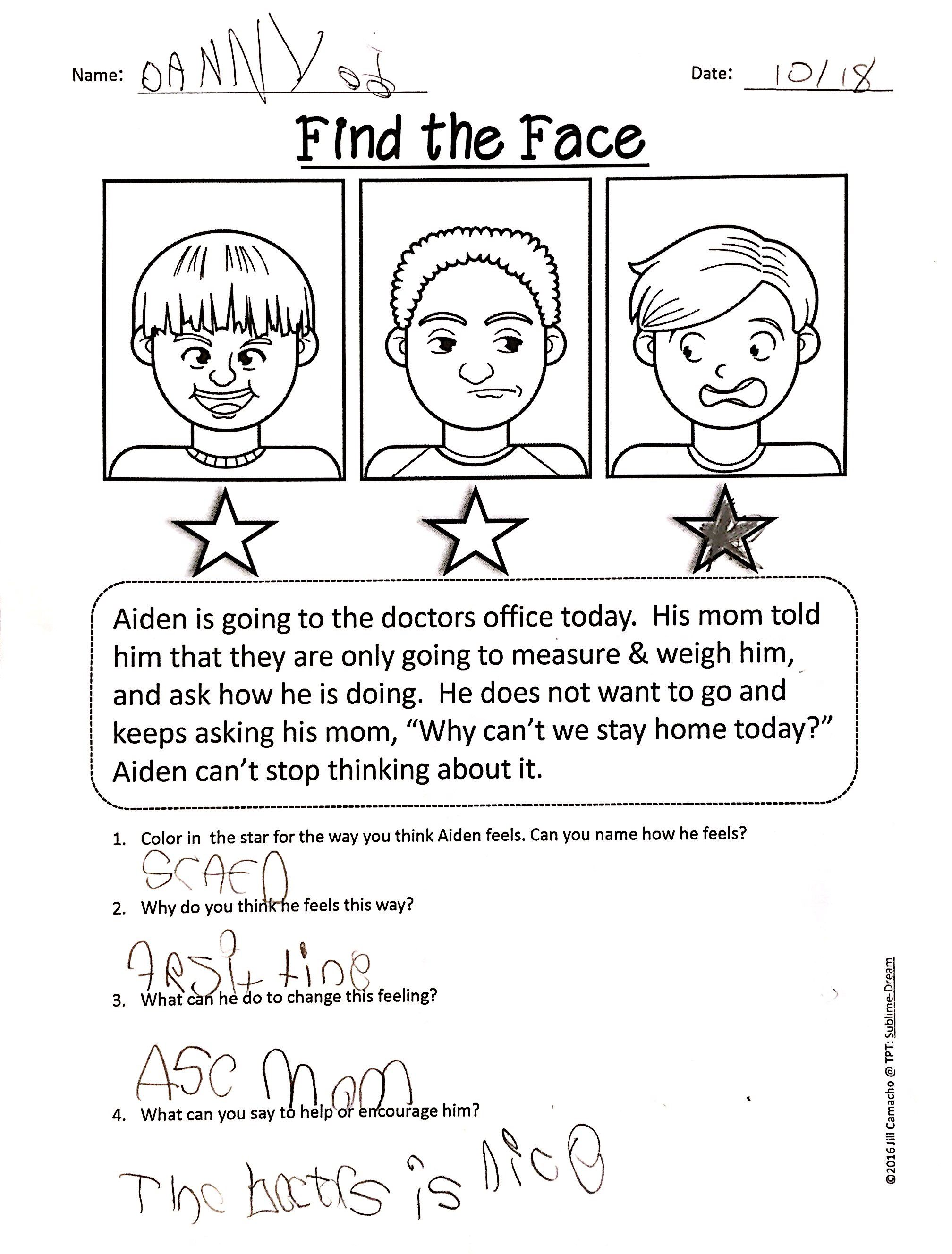 Labeling Emotions Worksheet