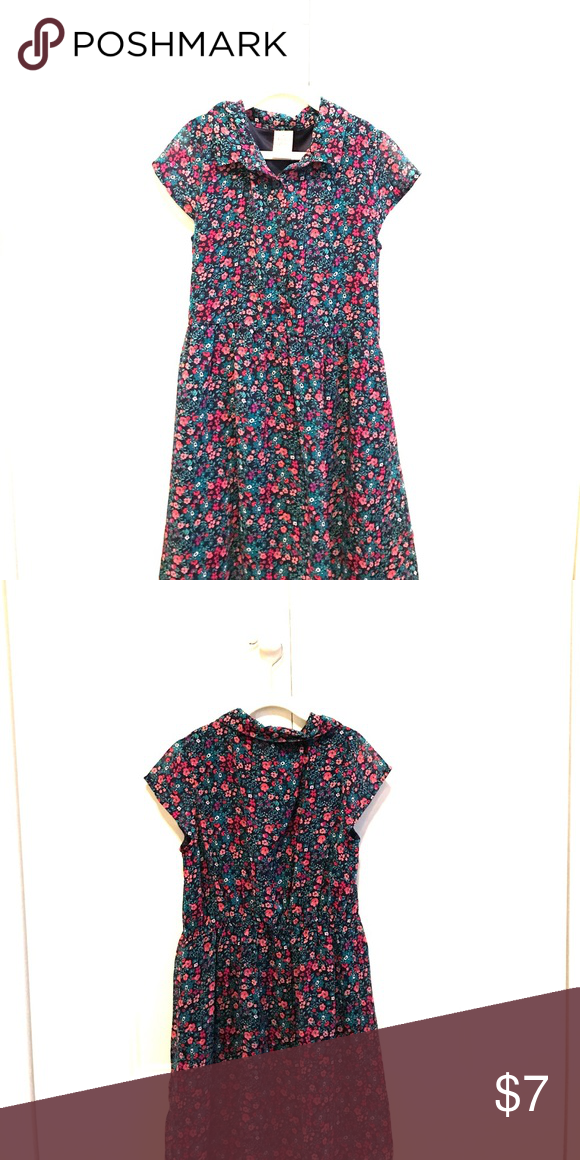 Girls Floral Button Up Dress Girls floral button up dress (pink, purple, navy blue, turquoise, white). Size: large/ 10/12 Brand: Faded Glory Faded Glory Dresses Casual