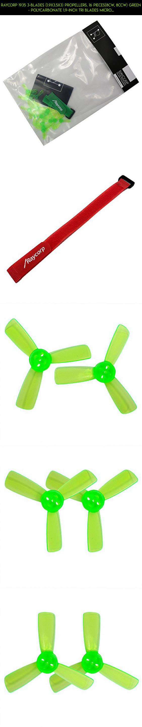 1.9x3.5x3 16 Pieces Battery Strap Propellers RAYCorp 1935 3-Blades Green Polycarbonate 1.9-inch Tri Blades Micro Quadcopters /& Multirotors Props 8CW, 8CCW