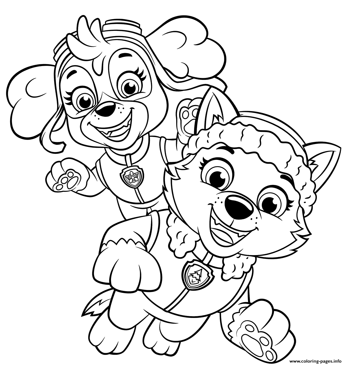 Print Skye and Everest coloring pages in 14  Paw patrol