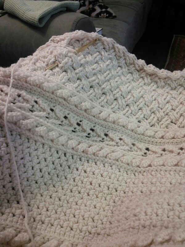 Crocheted cable afghan. Free pattern here: http://www.redheart.com ...
