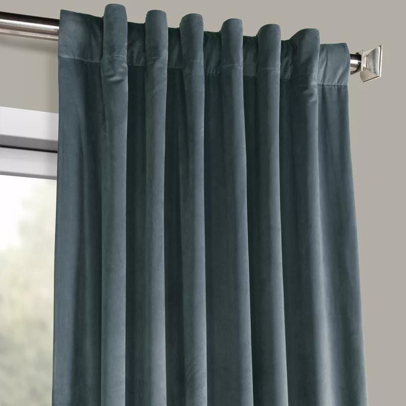 Livia Velvet Solid Color Room Darkening Thermal Rod Pocket Curtain
