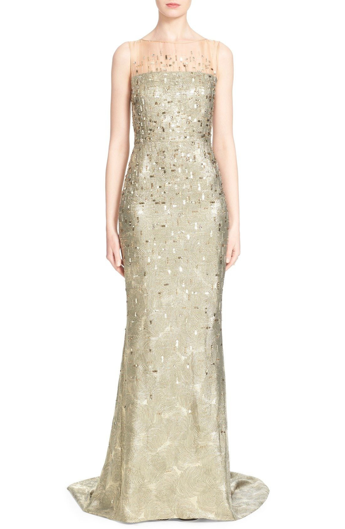 St. John Collection Hand Beaded Grooved Lamé Gown available at ...